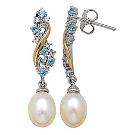 Sterling Silver And 14K Yellow Gold Cultured Freshwater Pearl And Swiss Blue Topaz And White Topaz Earrings