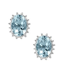 Effy® 14K White Gold Diamond And Aquamarine Earrings