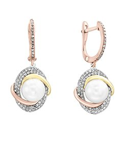 Effy®  14K Gold .40 ct. t.w. Diamond And Cultured Freshwater Pearl Earrings