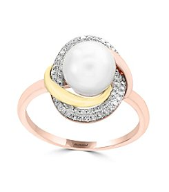 Effy® 14K Tri Tone Gold Diamond And Freshwater Pearl Ring