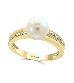 Effy® 14K Yellow Gold Diamond And Cultured Freshwater Pearl Ring