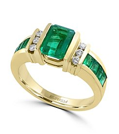 Effy® 14K Yellow Gold Diamond And Natural Emerald Ring