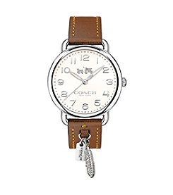 COACH DELANCEY STAINLESS STEEL AND SADDLE LEATHER STRAP WATCH WITH FEATHER CHARM