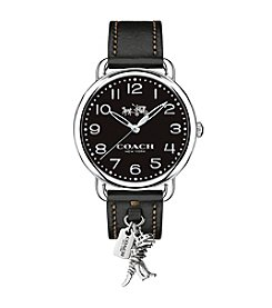 COACH DELANCEY STAINLESS STEEL AND BLACK LEATHER STRAP WATCH WITH REXY CHARM