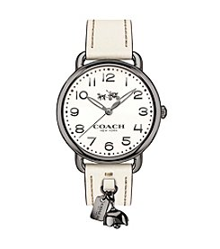 COACH DELANCEY LEATHER STRAP WATCH WITH TEA ROSE CHARM