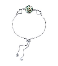 LArocks® Gratitude And Grace Plated Adjustable Chain Bracelet With Abalone Accents And Heart Message