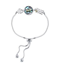 LArocks® Gratitude And Grace Plated Adjustable Chain Bracelet With Abalone Accents And Mom Message