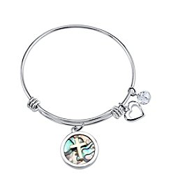LArocks® Gratitude And Grace Stainless Steel Adjustable Bangle With Plated Abalone Accent And Cross With Faith Message