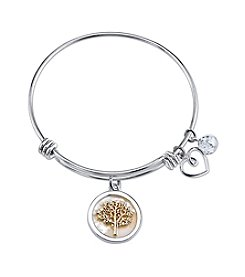 Gratitude And Grace Stainless Steel Adjustable Bangle With Plated Mother Of Pearl Accent And Tree With Family Message