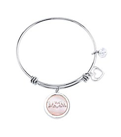 LArocks® Gratitude And Grace Stainless Steel Adjustable Bangle With Plated Mother Of Pearl Accent And Mom Message