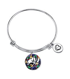 LArocks® Gratitude And Grace Stainless Steel Adjustable Bangle With Plated Multi Color Crystal Elephant With Lucky Message