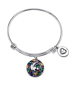 LArocks® Gratitude And Grace Stainless Steel Adjustable Bangle With Silver Plated Multi Color Crystal Moon And Heart With Lo