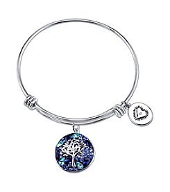 LArocks® Gratitude And Grace Stainless Steel Adjustable Bangle With Silver Plated Multi Crystal Tree With Family Message