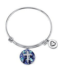 LArocks® Gratitude And Grace Stainless Steel Adjustable Bangle With Plated Multi Crystal Cross With Faith Message