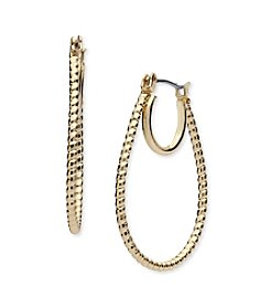 Nine West® Textured Elongated Hoop Earrings