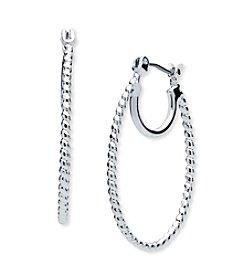 Nine West® Textured Elongated Hoop Earrings