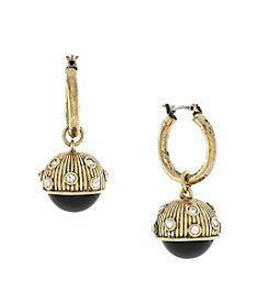 Jessica Simpson Pave Capped Ball Charm Earrings