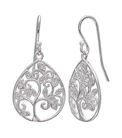 Willow Pave Filigree Tree Drop Earrings