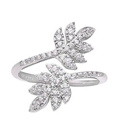 Willow Cubic Zirconia Leaf Bypass Ring