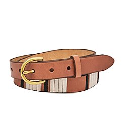 Fossil® Geo Embroidered Skinny Belt
