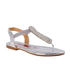 Kensie Girl® Girls' Metallic Jeweled Thong Sandals