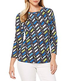 Rafaella® Geo Print Knit Top