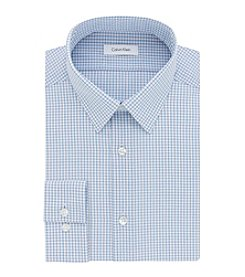 Calvin Klein Men's Slim Fit Non Iron Check Point Dress Shirt