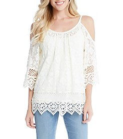 Karen Kane® Cold Shoulder Lace Top