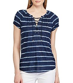 Chaps® Striped Lace-Up Top