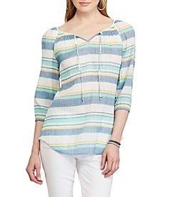 Chaps® Striped Cotton Peasant Top
