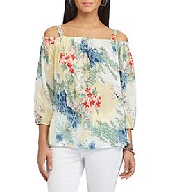 Chaps® Printed Off-The-Shoulder Top
