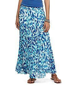 Chaps® Pleated Leaf-Print Skirt