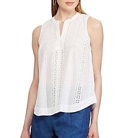 Chaps® Cotton Eyelet Top