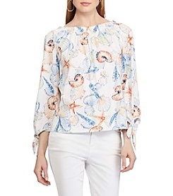 Chaps® Seashell-Print Off-The-Shoulder Top