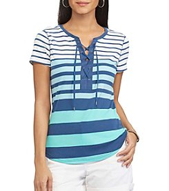Chaps® Striped Lace-Up Cotton Tee