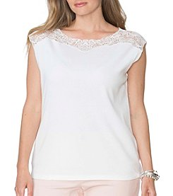 Chaps® Plus Size Lace-Yoke Cotton Tee