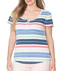 Chaps® Plus Size Striped Cotton Henley Tee