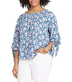 Chaps® Plus Size Smocked Floral Top