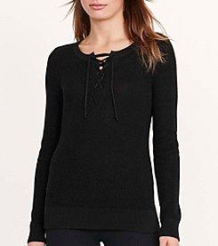 Lauren Ralph Lauren® Cotton-Blend Lace-Up Sweater