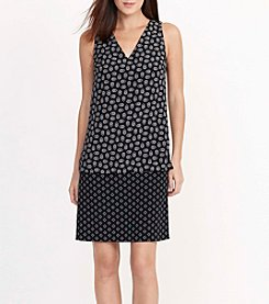 Lauren Ralph Lauren® Pattern-Blocked Crepe Dress