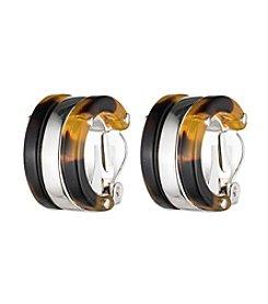 Lauren Ralph Lauren Silvertone and Tortoise 3/4 Hoop Clip Earrings