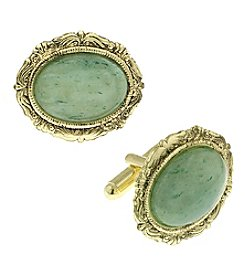 1928® Jewelry 14K Gold Dipped Semi-Precious Jade Oval Cufflinks