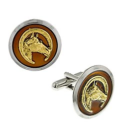 1928® Jewelry Silvertone and 14K Gold-Dipped Brown Enamel Horse Cufflinks