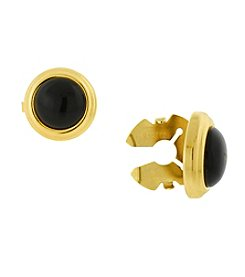 1928® Jewelry 14K Gold-Dipped Black Stone Round Button Covers