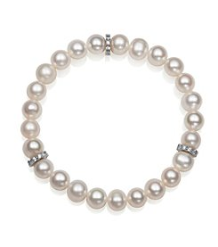 .925 Sterling Silver Cultured Freshwater Pearl Stretch Bracelet with Cubic Zirconia