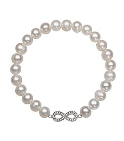 .925 Sterling Silver Cultured Freshwater Pearl Stretch Bracelet with Infinity Charm