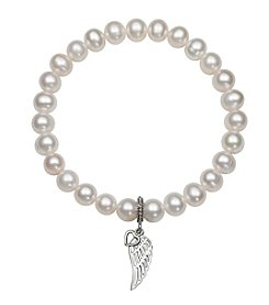 .925 Sterling Silver Cultured Freshwater Pearl Stretch Bracelet with Wing/Heart Charm