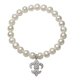 .925 Sterling Silver Cultured Freshwater Pearl Stretch Bracelet with Fleur De Lis Charm