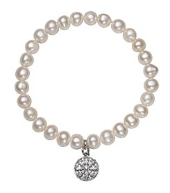 .925 Sterling Silver Cultured Freshwater Pearl Stretch Bracelet with Floral Design Circle Charm