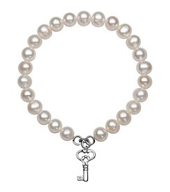 .925 Sterling Silver Cultured Freshwater Pearl Stretch Bracelet with Key Charm